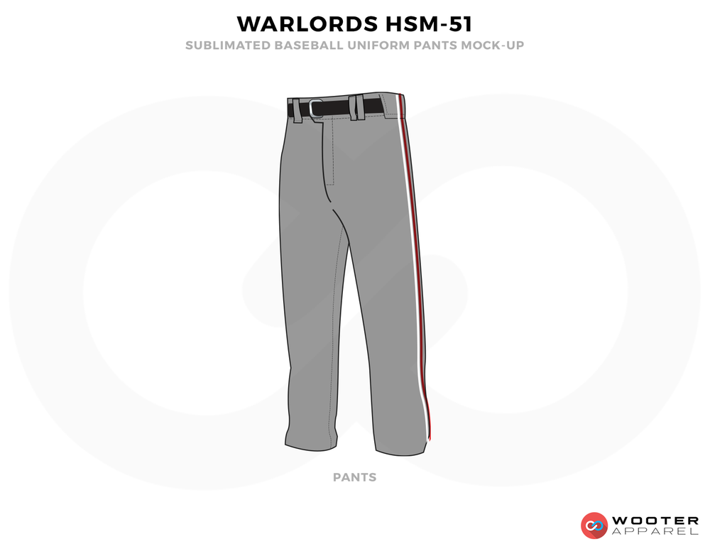 WORLORDS HSM-51 Gray and Black Baseball Uniform, Pants