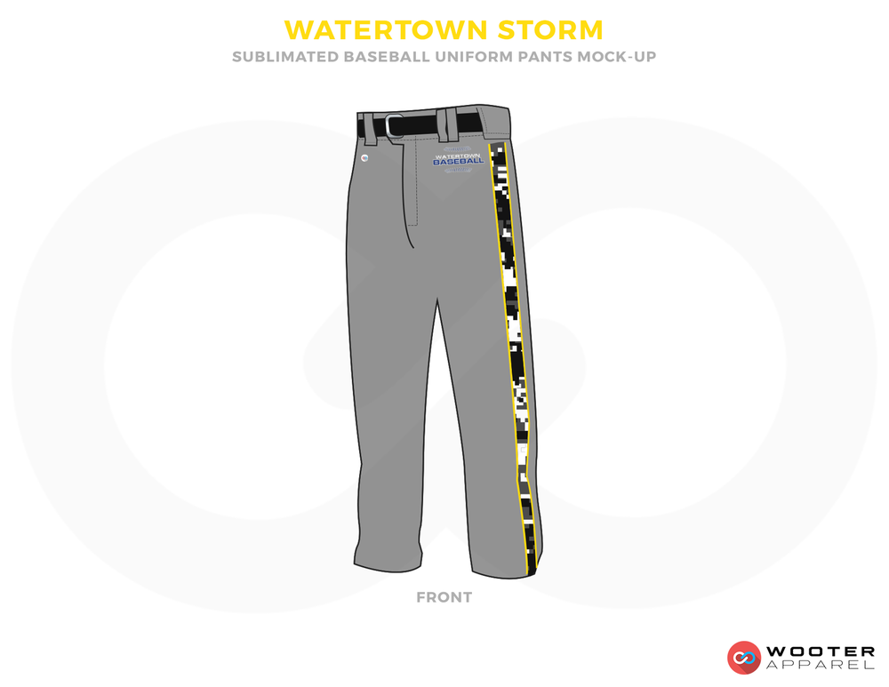 WATERTOWN STORM Grey and Black Baseball Uniforms, Pents
