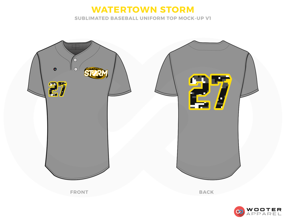 WATERTWON STORM Gray, Black and Yellow Baseball Uniforms, Shirts
