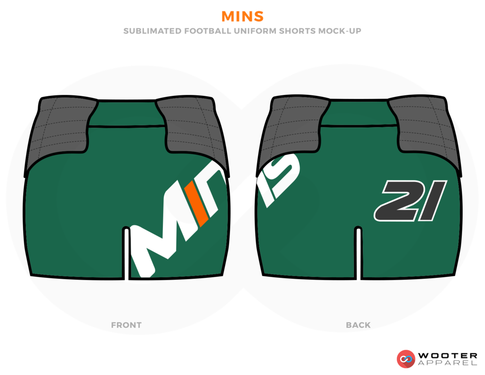 MINS Shamrock Grey Orange and White Football Uniforms, Shorts