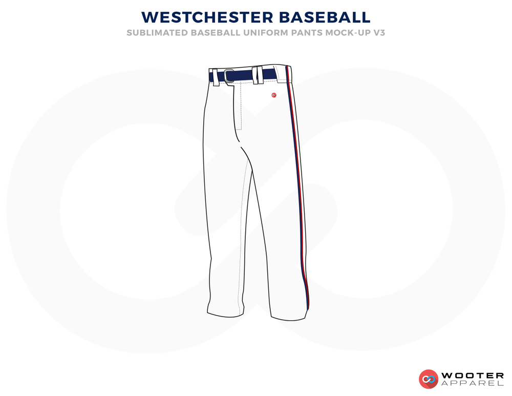 WESTCHESTER BASEBALL White and Blue Baseball Uniforms, Pents