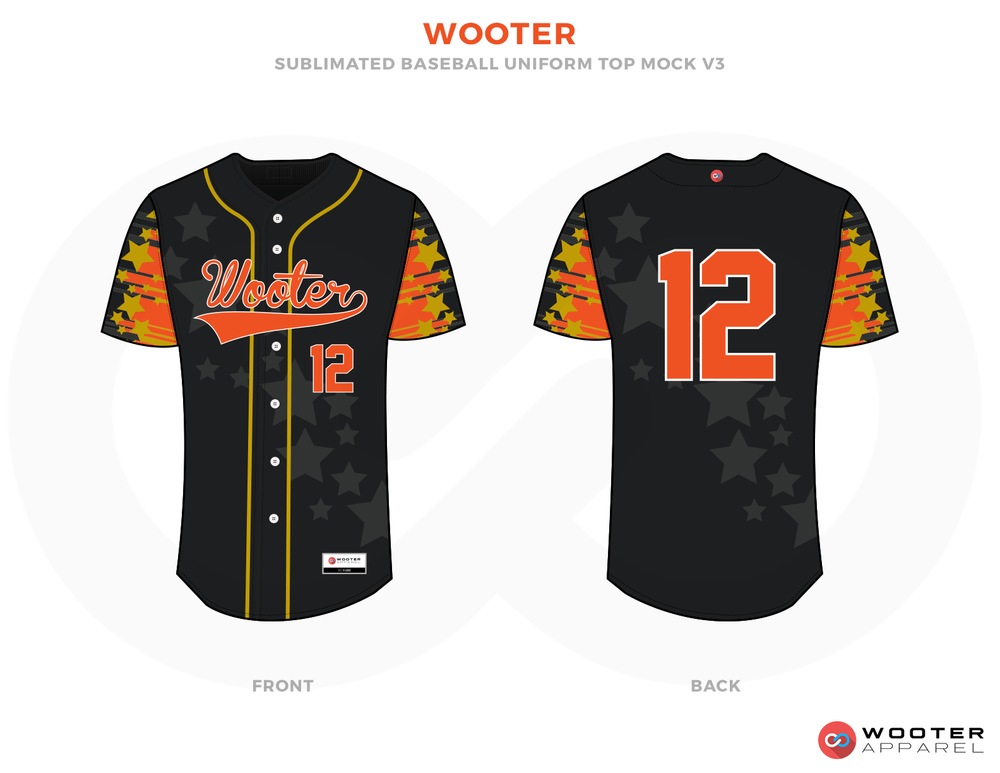 WOOTER Yellow Black Red Orange Grey and White Baseball Uniforms, Jerseys