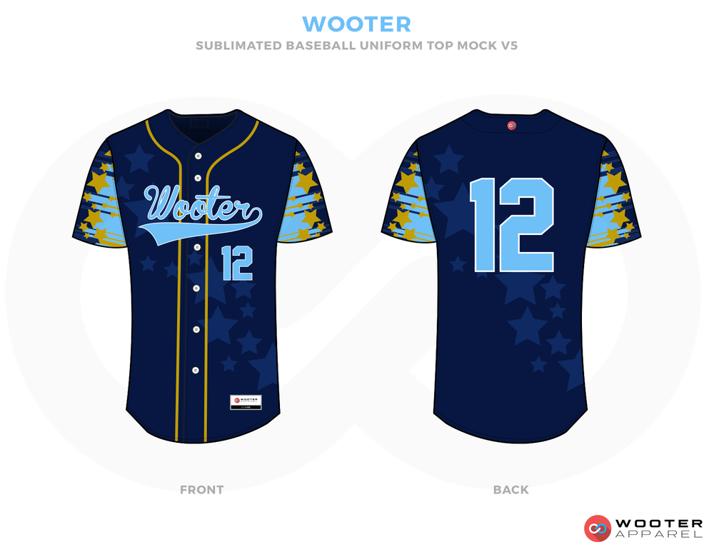 WOOTER Blue Yellow white and Sky Baseball Uniforms, Jerseys