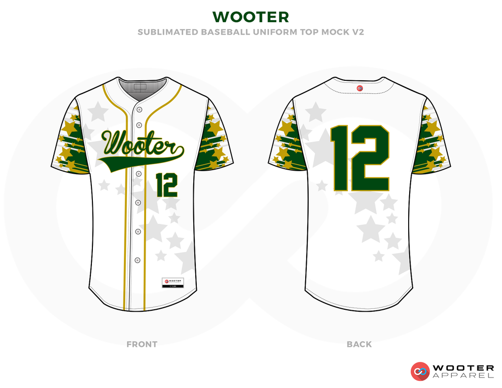 WOOTER White Grey Green and Yellow Baseball Uniforms, Jerseys