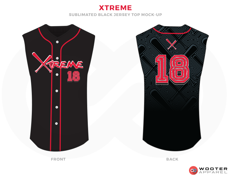 XTREME Black Grey Pink and White Baseball Uniforms, Jerseys