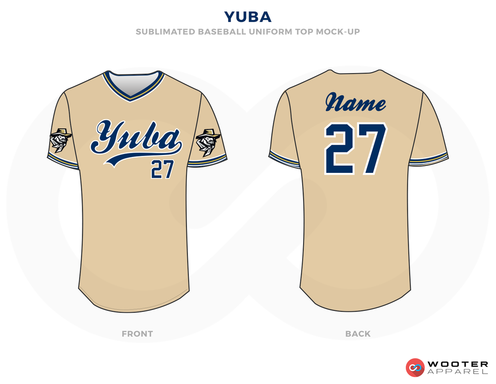 YUBA Beige Black and  Blue Baseball Uniforms, Jerseys