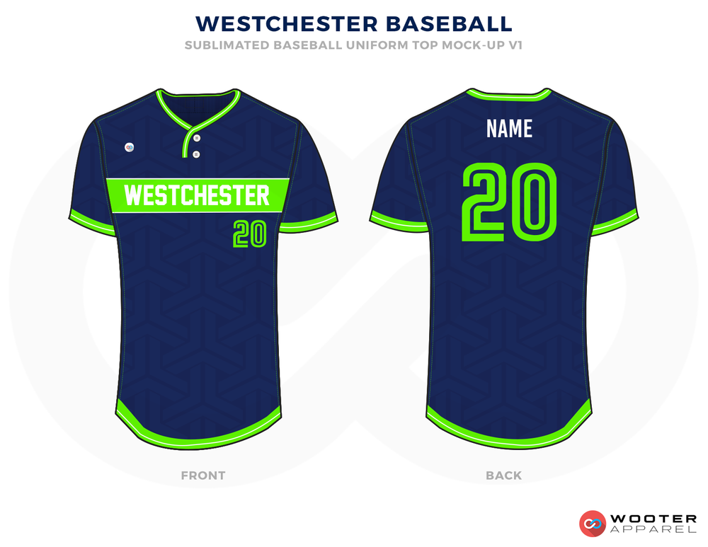 WESTCHESTER BASEBALL Blue Green and White Baseball Uniforms, Jerseys