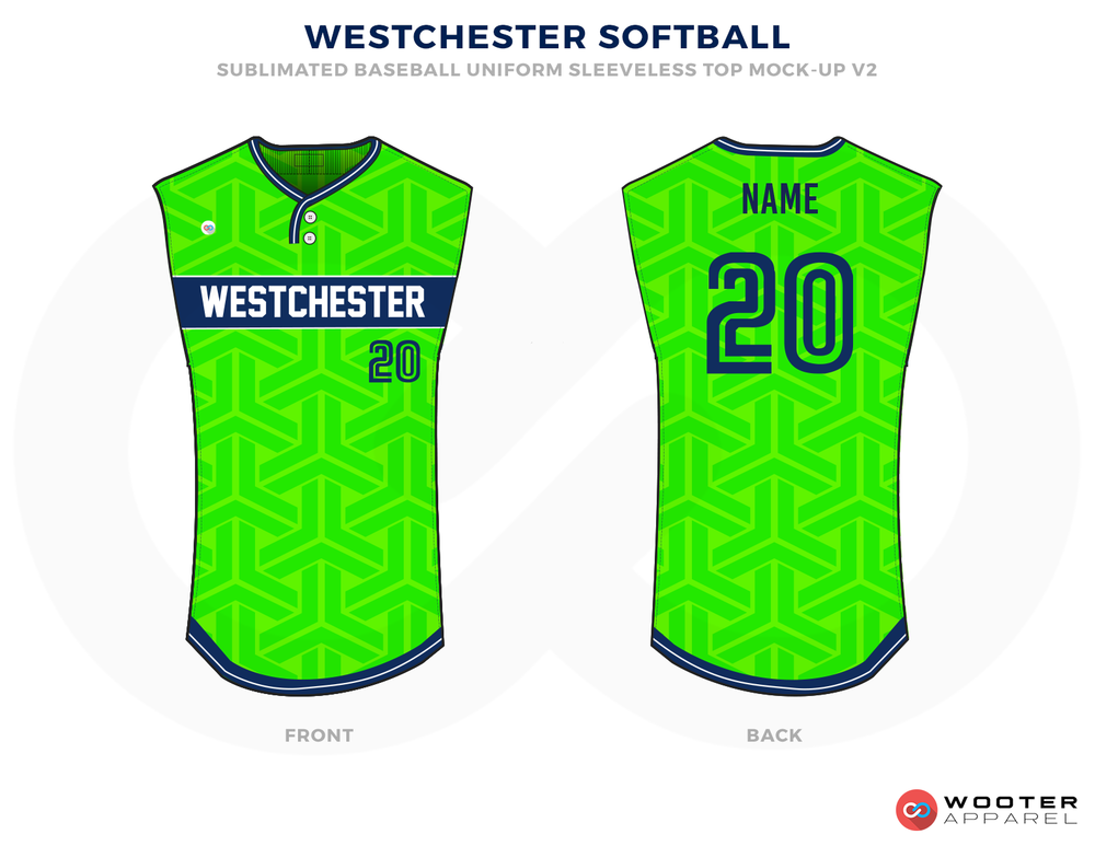 WESTCHESTER SOFTBALL Green Blue and White Baseball Uniforms, Jerseys