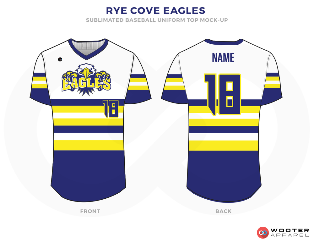 RYE COVE EAGLES Blue White and Yellow Baseball Uniforms, Jerseys