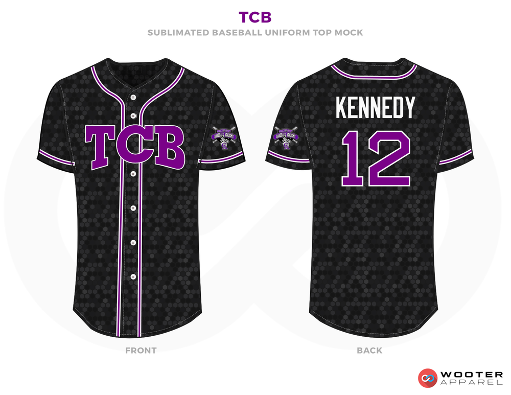 TCB Black Grey Purple and White Baseball Uniforms, Jerseys