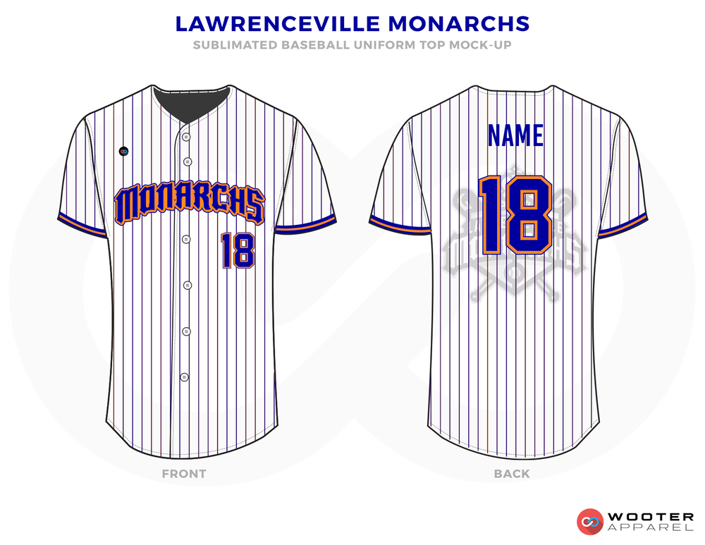 LAWRENCEVILLE MONARCHS White Pink Black and Blue Baseball Uniforms, Jerseys