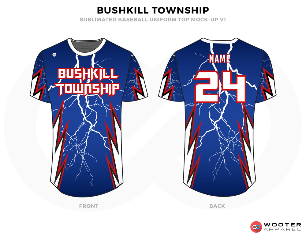 BUSHKILL TOWNSHIP Blue White and Red Baseball Uniforms, Jerseys