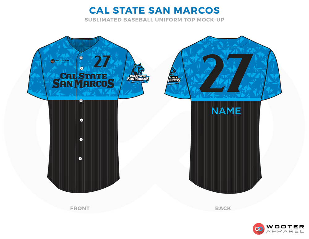 CAL STATE SAN MARCOS Blue Black and White Baseball Uniforms, Jerseys