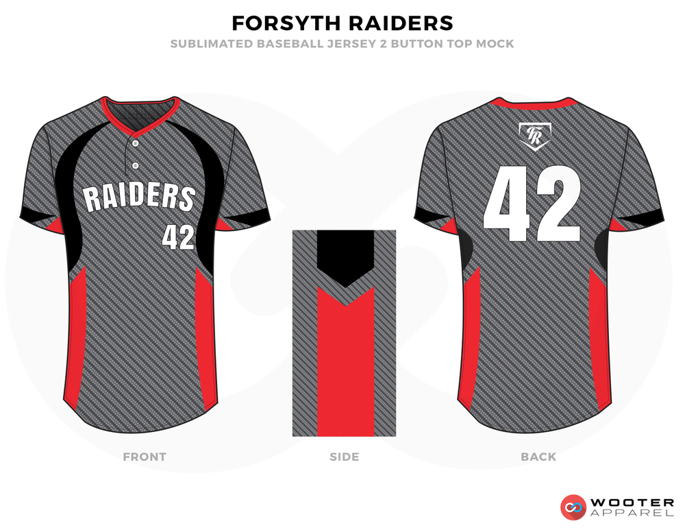 FORSYTH RAIDERS Grey White Red and Black Baseball Uniforms, Jerseys
