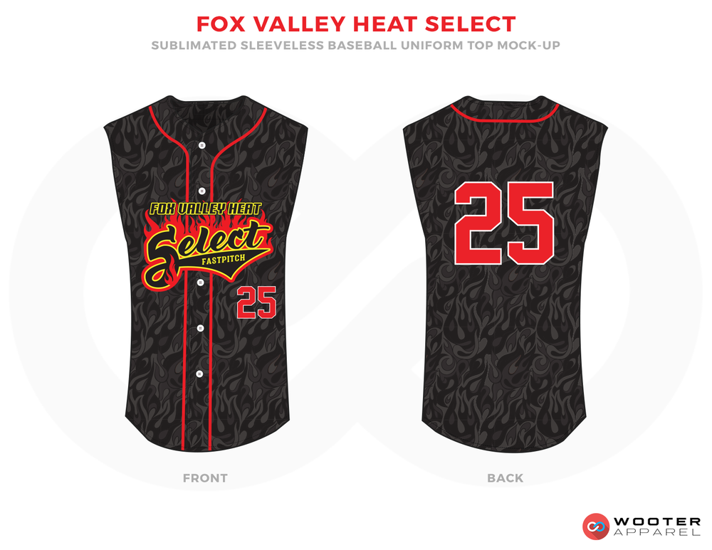 FOX VALLEY HEAT SELECT Black Grey Red and White Baseball Uniforms, Jerseys
