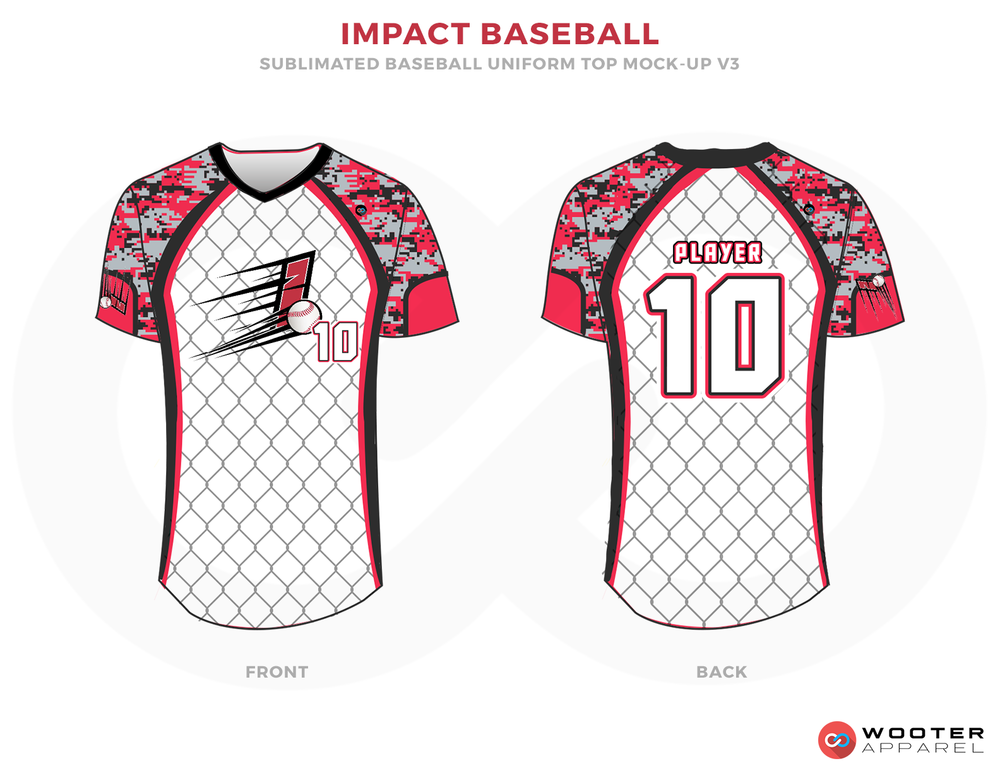 IMPACT BASEBALL White Red Grey and Black Baseball Uniforms, Jerseys