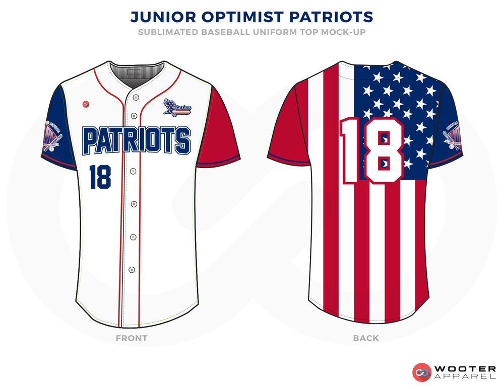 JUNIOR OPTIMIST PATRIOTS White Red and Blue Baseball Uniforms, Jerseys