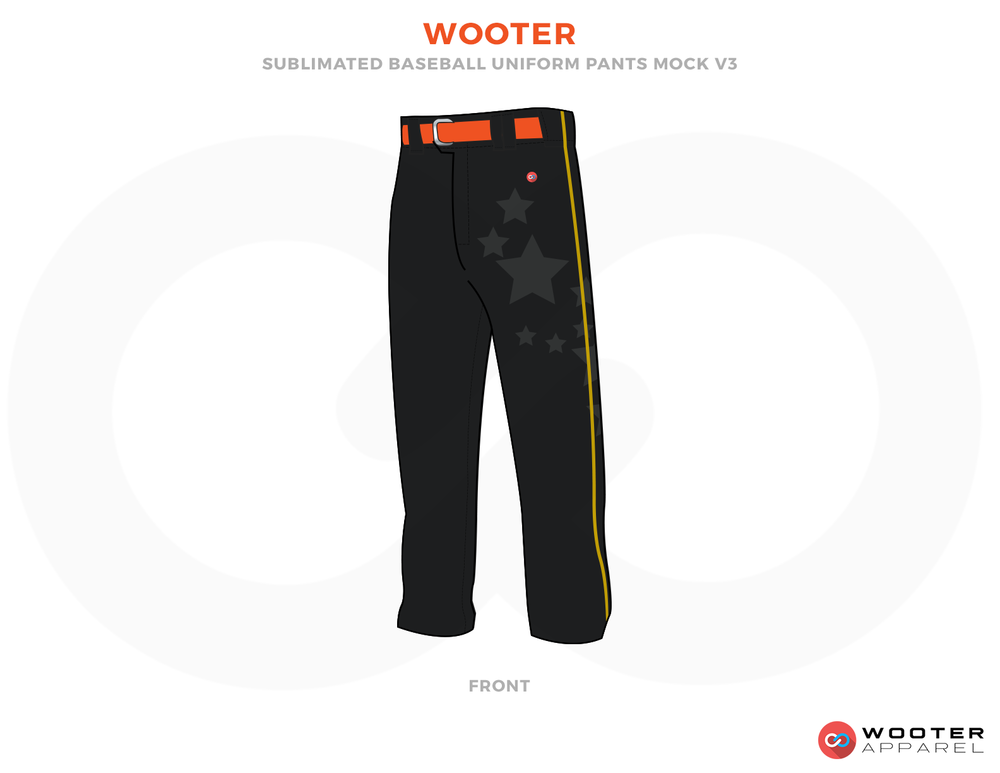 WOOTER Black Grey and Orange Baseball Uniforms, Pants