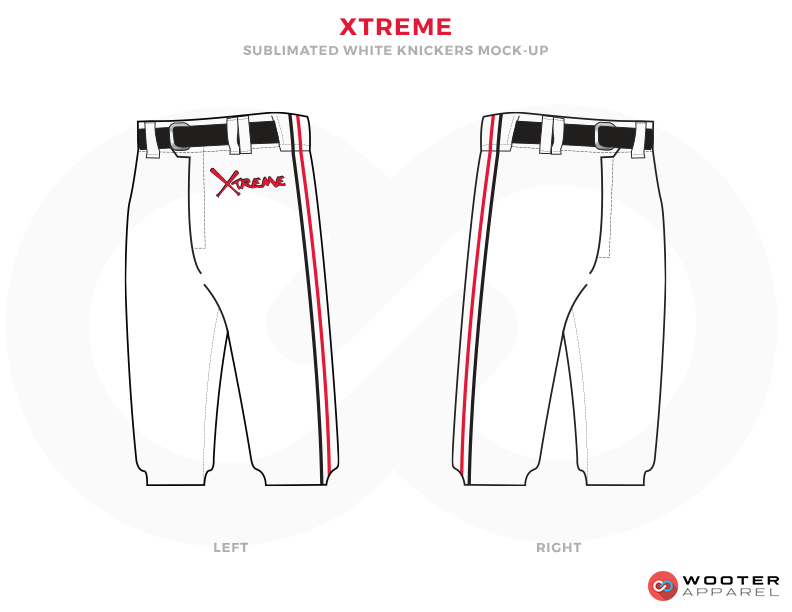 XTREME White Black and Red Baseball Uniforms, Pants