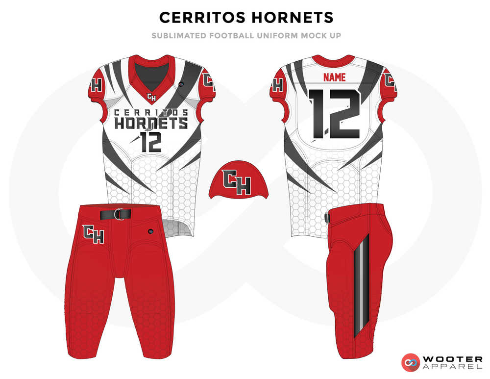 CERRITOS HORNETS white red black gray football uniforms jerseys pants