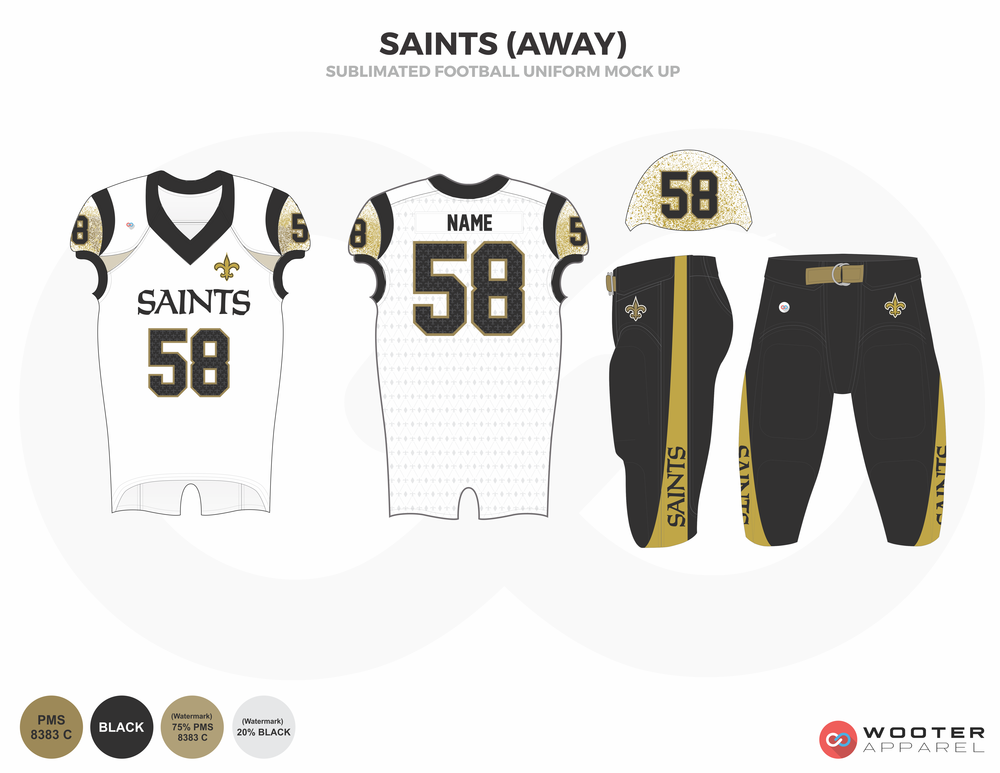 SAINTS (AWAY) white black khaki football uniforms jerseys pants