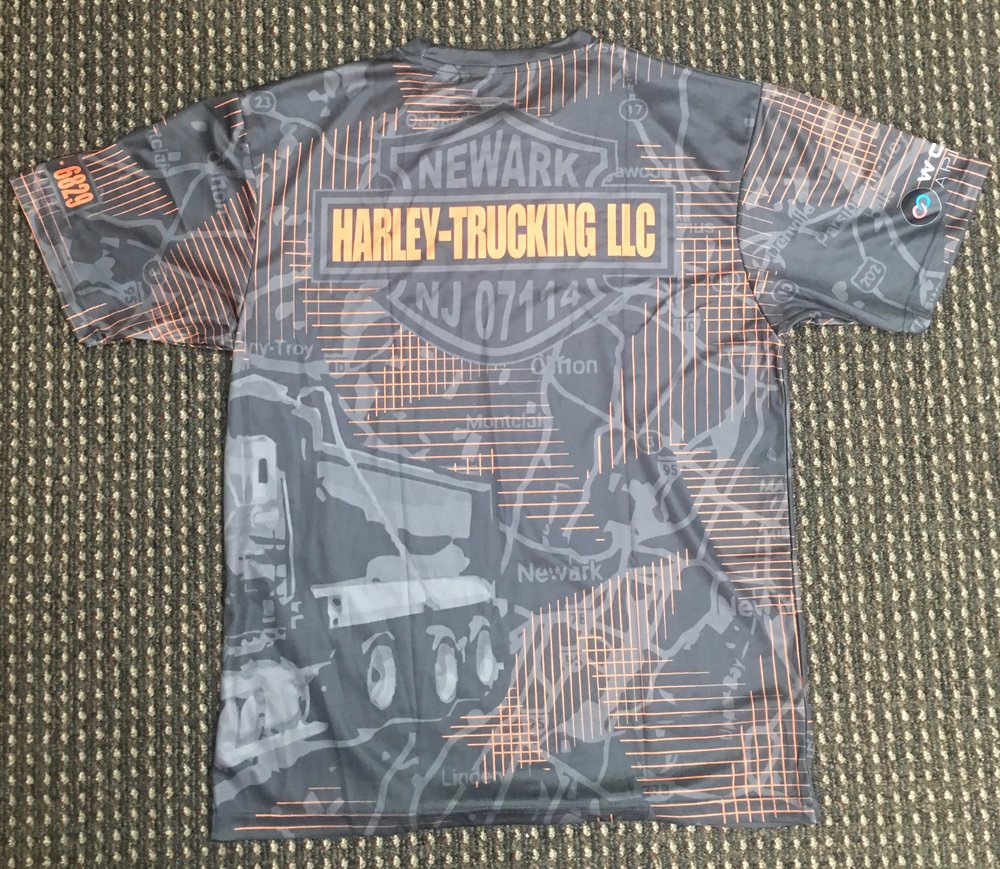 HARLEY- TRUCKING LLC gray orange black sublimated shirt