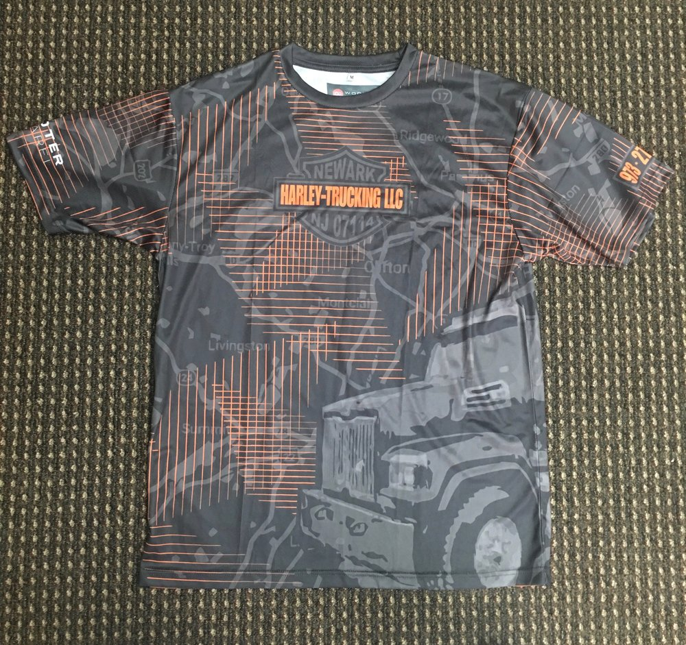 HARLEY-TRUCKING LLC Gray orange black sublimated shirt