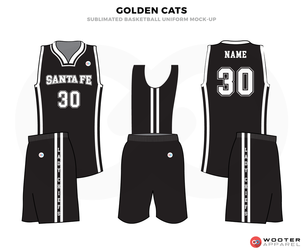 GOLDEN CATS black white School basketball uniforms jerseys tops shorts