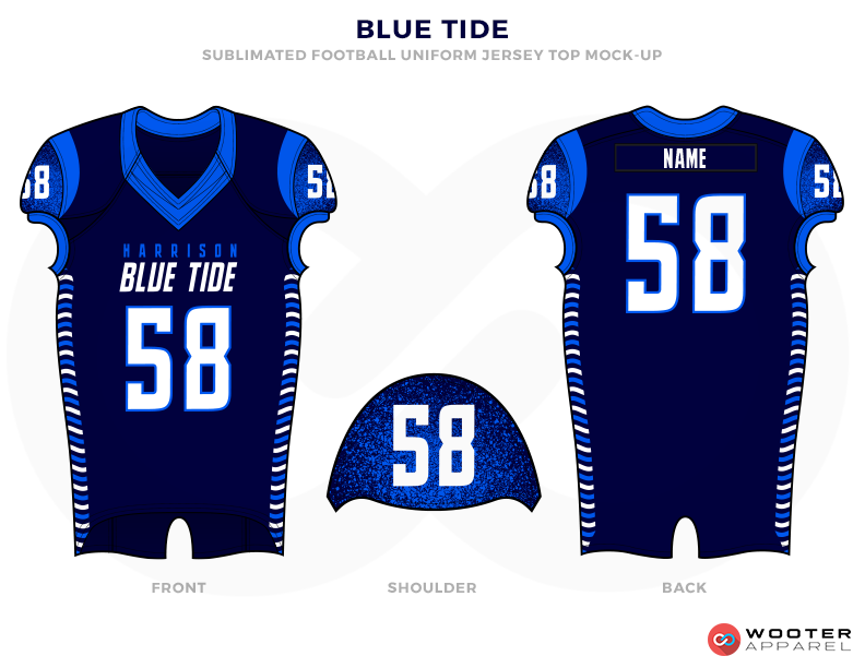 BLUE TIDE royal blue navy blue white School football uniforms jerseys tops