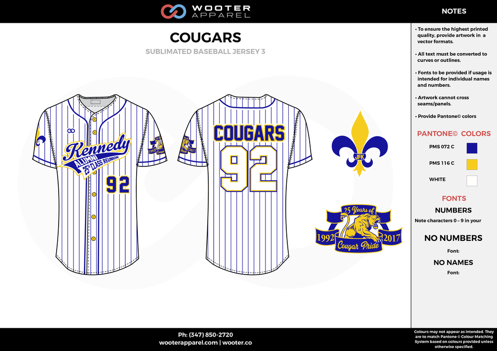 COUGARS white blue yellow School baseball uniforms jerseys tops