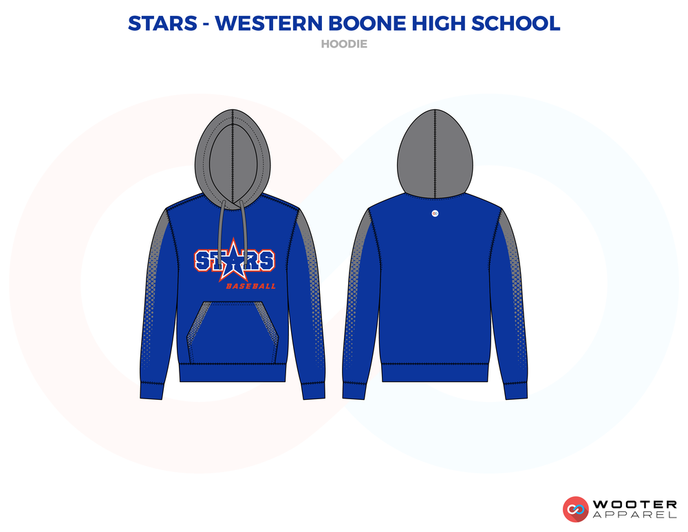 STARS - WESTERN BOONE HIGH SCHOOL blue gray red  school coaches uniforms hoodie