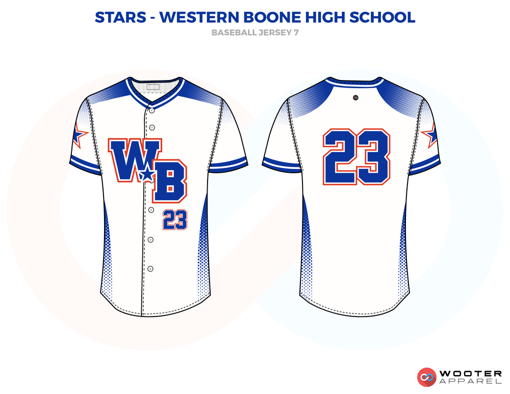 STARS- WESTERN BOONE HIGH SCHOOL white blue red School baseball uniforms jerseys tops