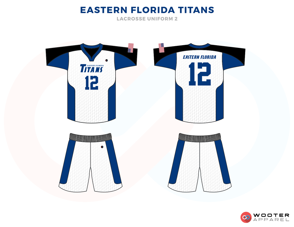 EASTERN FLORIDA TITANS blue white black School lacrosse uniforms jerseys tops shorts