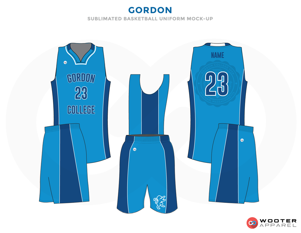 GORDON light blue dark blue white School basketball uniforms jerseys tops shorts