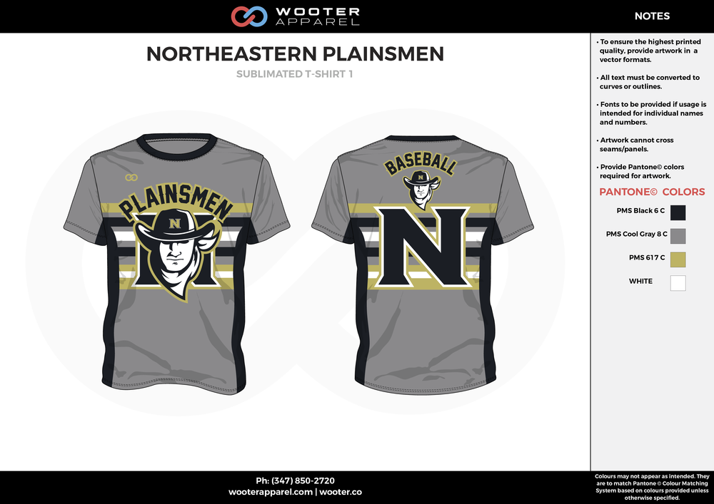 NORTHEASTERN PLAINSMEN gray black brown white School baseball uniforms jerseys tops
