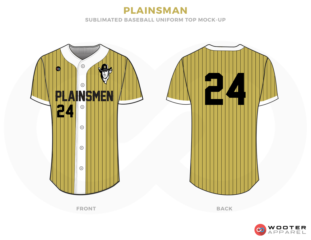PLAINSMAN gold black white School baseball uniforms jerseys tops