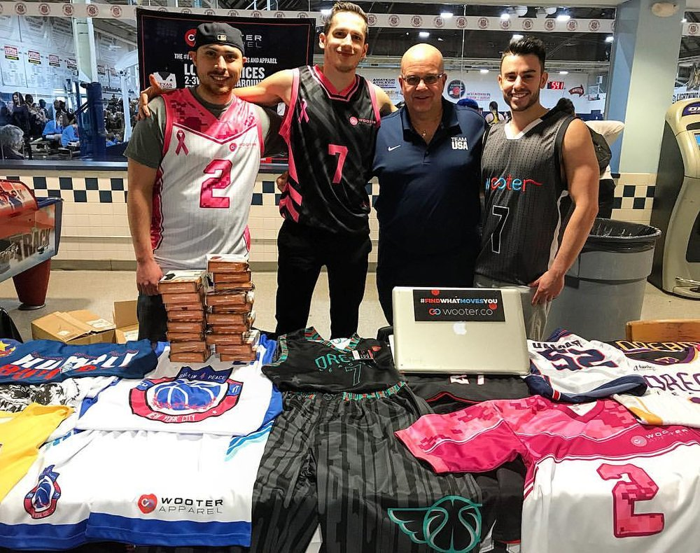a527b8f915e The Wooter Apparel team displaying their full sublimation basketball  uniforms and jerseys.