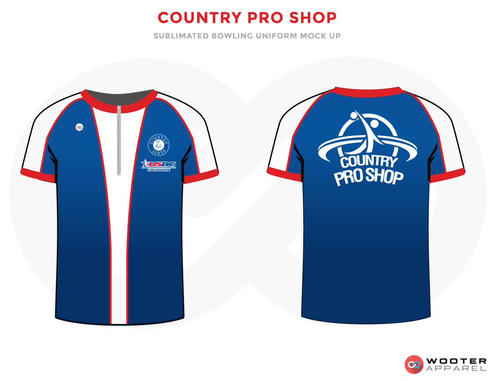 COUNTRY PRO SHOP blue white red bowling uniforms, shirts, quarter zip polo