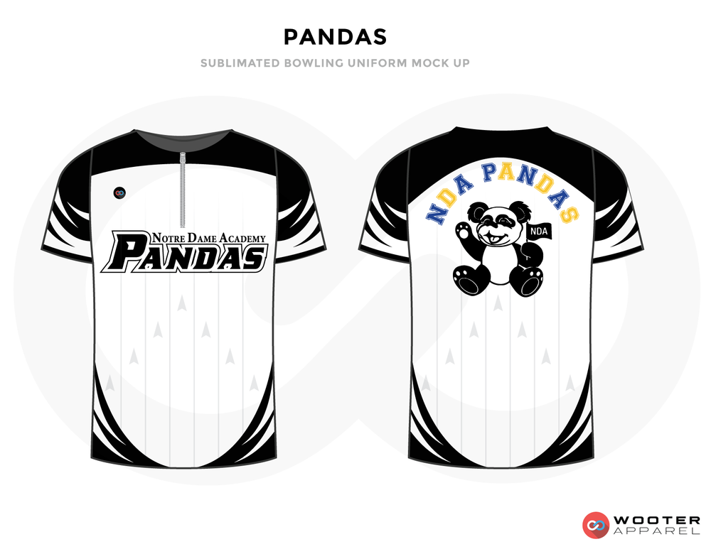 PANDAS white black blue yellow gray bowling uniforms, shirts, quarter zip polo