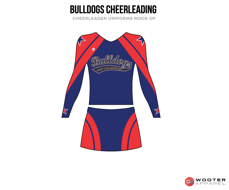 BULLDOGS blue red gray cheerleading uniforms, top, and skirt
