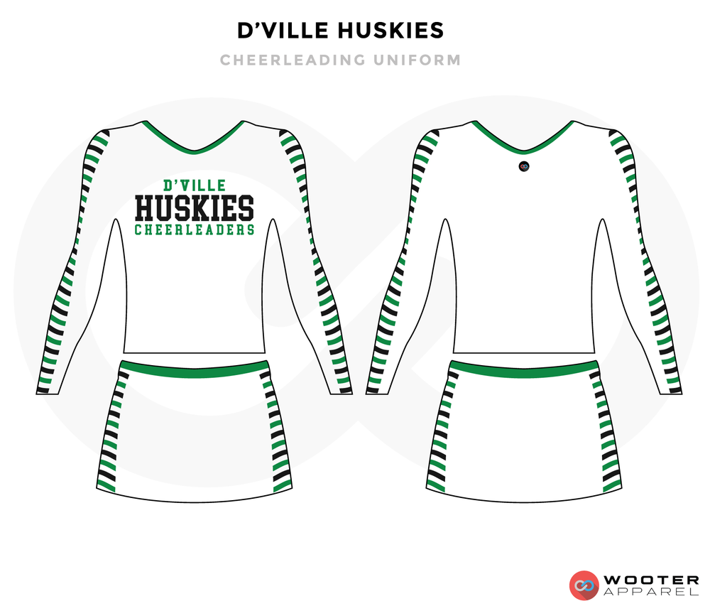 D'VILLE HUSKIES white green black cheerleading uniforms, top, and skirt