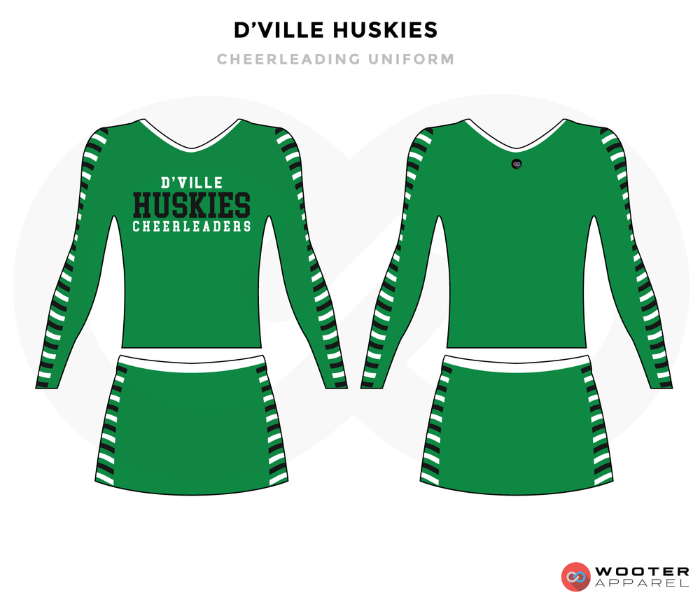 D'VILLE HUSKIES green black white cheerleading uniforms, top, and skirt