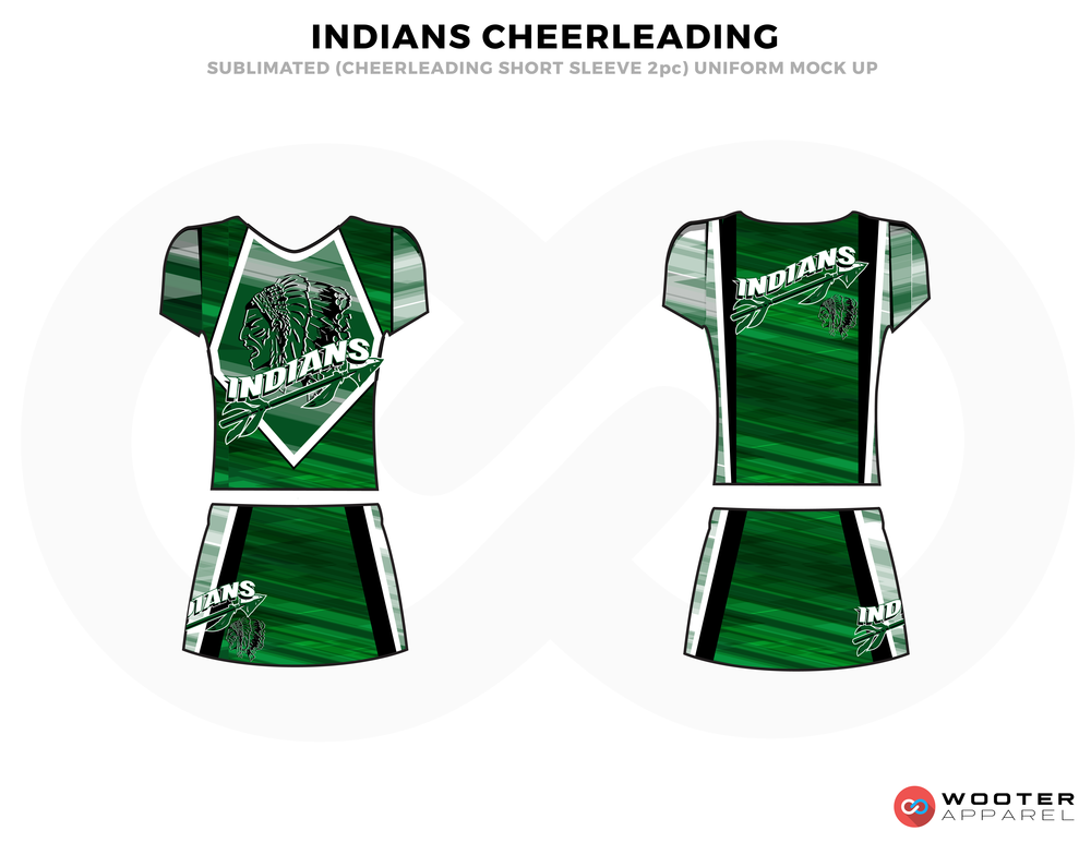INDIANS CHEERLEADING green white cheerleading uniforms, top, and skirt
