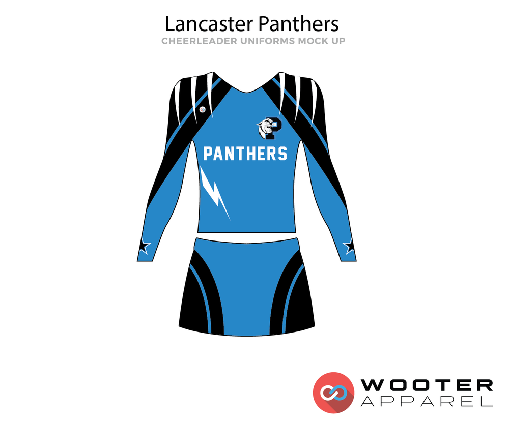 Lancaster Panthers blue black white cheerleading uniforms, top, and skirt