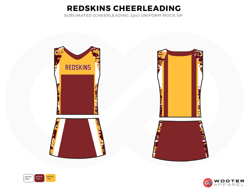 REDSKINS maroon yellow white cheerleading uniforms, top, and skirt