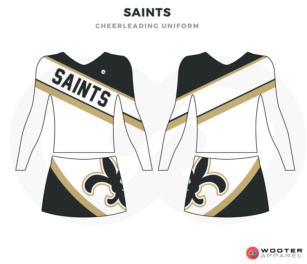 SAINTS white black beige cheerleading uniforms, top, and skirt