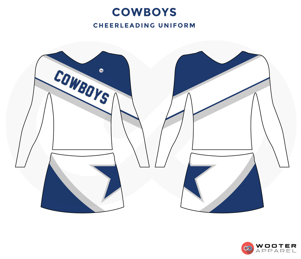 COWBOYS white blue gray cheerleading uniforms, top, and skirt