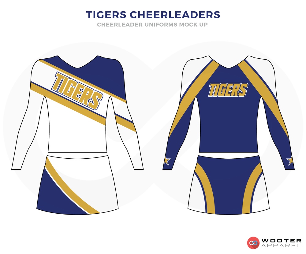 TIGERS CHEERLEADERS blue white yellow cheerleading uniforms, top, and skirt