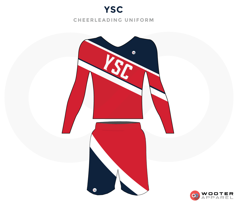 YSC red black white cheerleading uniforms, top, and shorts