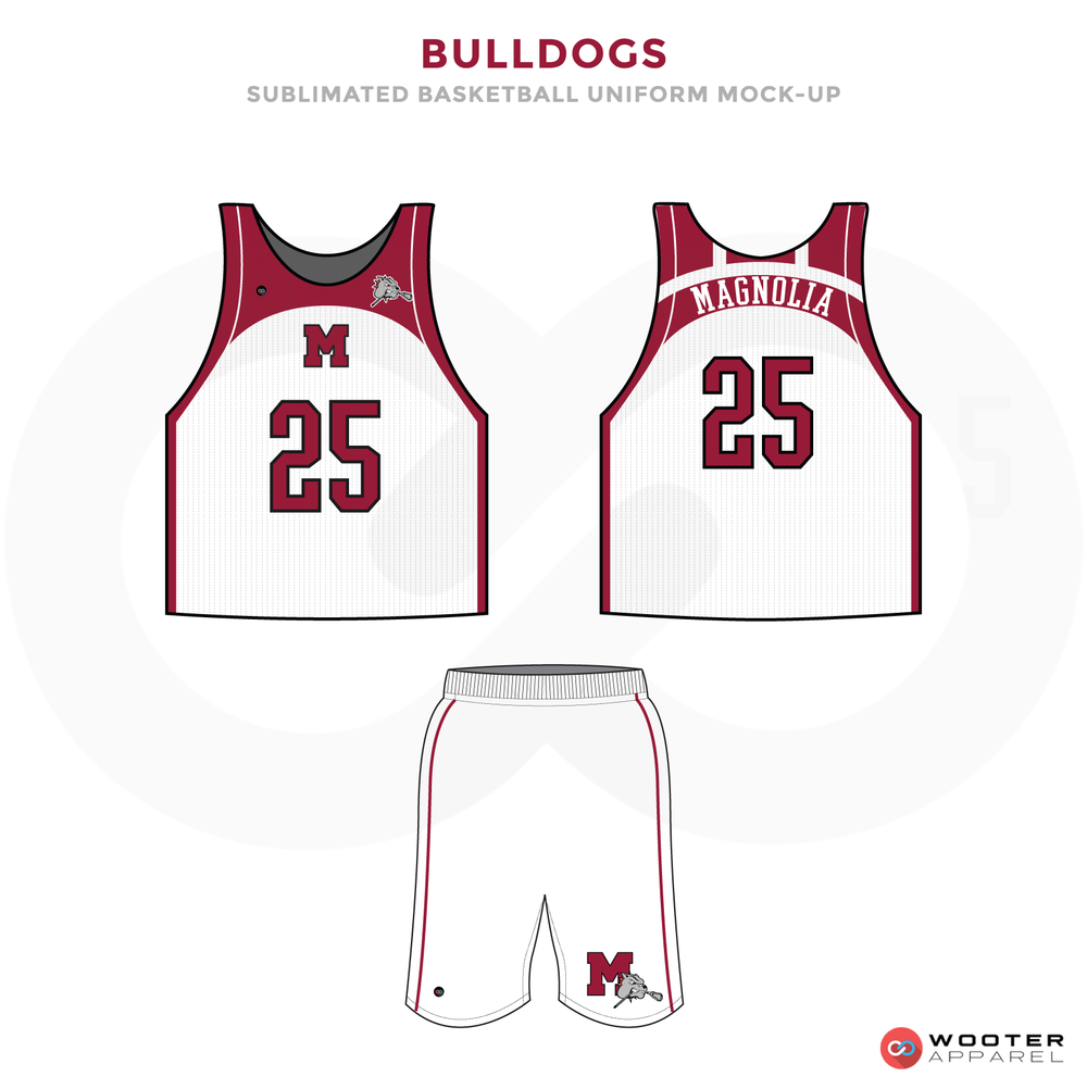 Bulldogs Red and White Lacrosse Uniforms, Reversible Pinnies, and Shorts